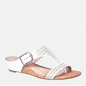 LAST ONE!! White Perforated T Strap Slide Sandal